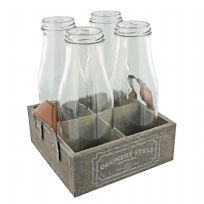 4 Vintage Shabby Chic Traditional Glass Milk Bottles & Wood Tray